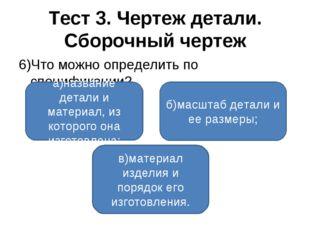 Тест 3. Чертеж детали. Сборочный чертеж 6)Что можно определить по спецификаци