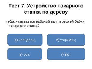 Тест 7. Устройство токарного станка по дереву 4)Как называется рабочий вал пе