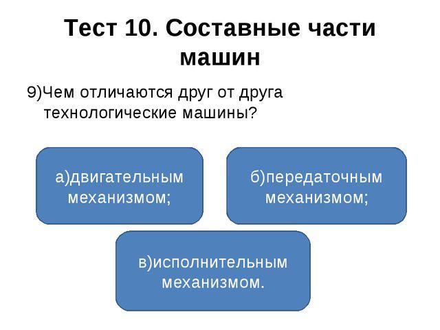 Тест 10. Составные части машин 9)Чем отличаются друг от друга технологические...