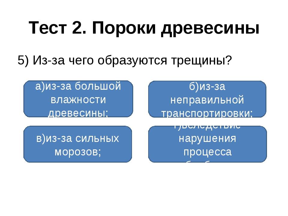 Тест 2. Пороки древесины 5) Из-за чего образуются трещины? а)из-за большой вл...