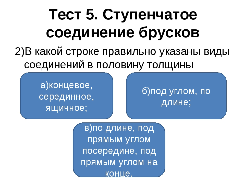 Тест 5. Ступенчатое соединение брусков 2)В какой строке правильно указаны вид...