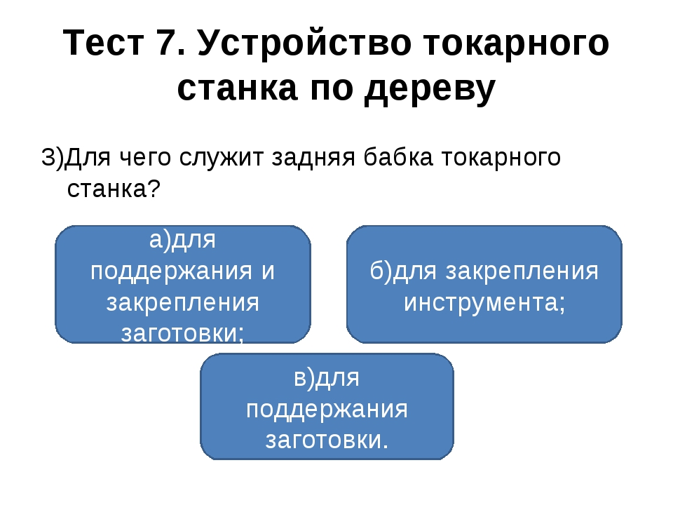 Тест 7. Устройство токарного станка по дереву 3)Для чего служит задняя бабка...