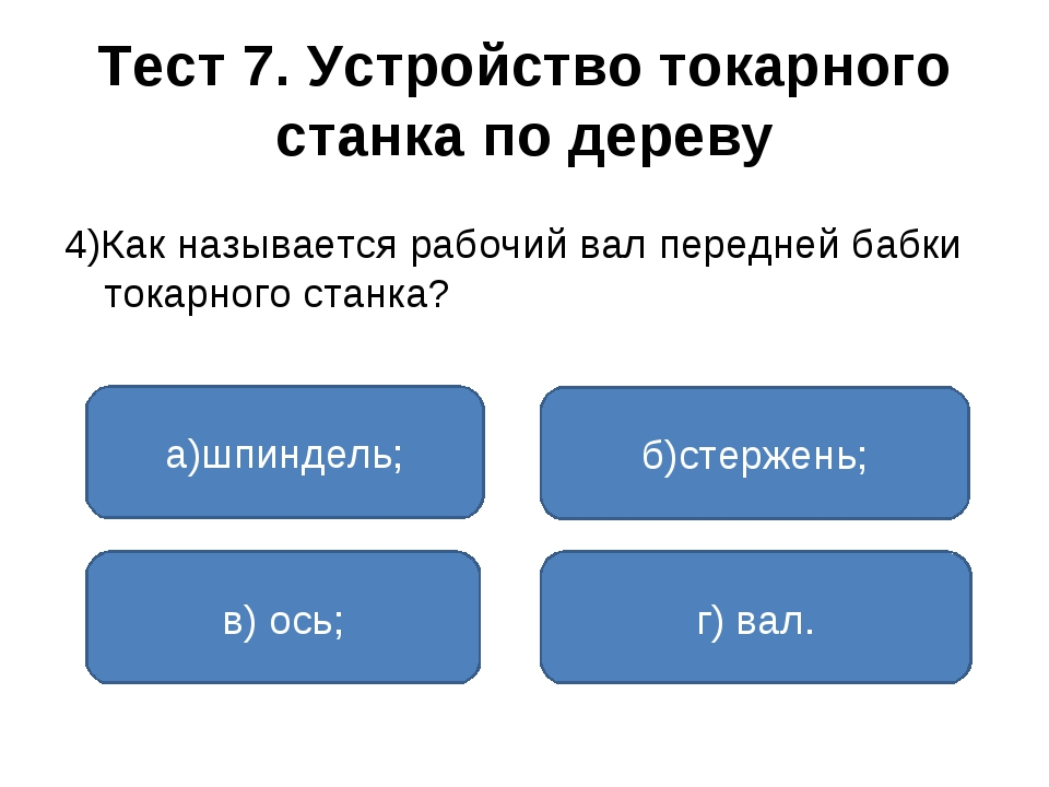 Тест 7. Устройство токарного станка по дереву 4)Как называется рабочий вал пе...