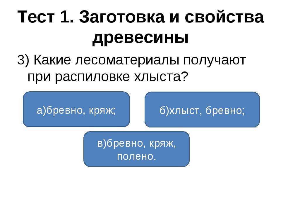 Тест 1. Заготовка и свойства древесины 3) Какие лесоматериалы получают при ра...