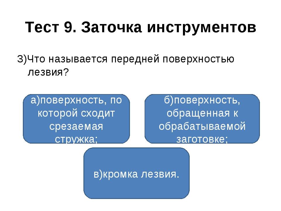 Тест 9. Заточка инструментов 3)Что называется передней поверхностью лезвия? а...