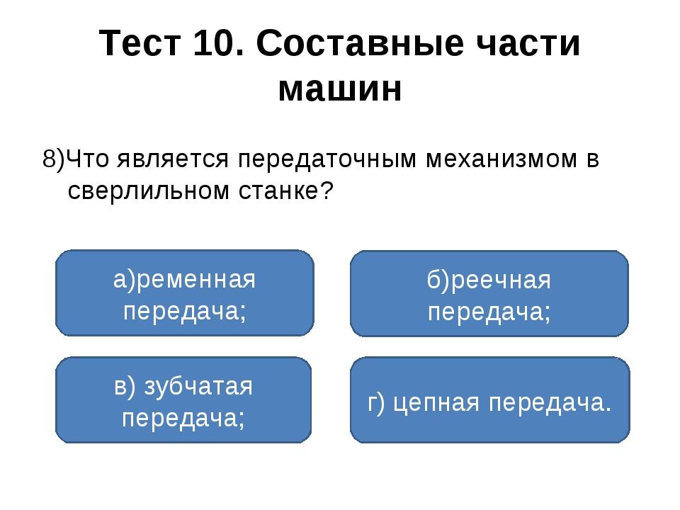 Тест 10. Составные части машин 8)Что является передаточным механизмом в сверл...