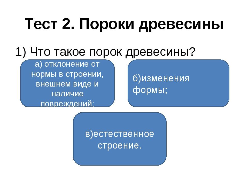 Тест 2. Пороки древесины 1) Что такое порок древесины? а) отклонение от нормы...