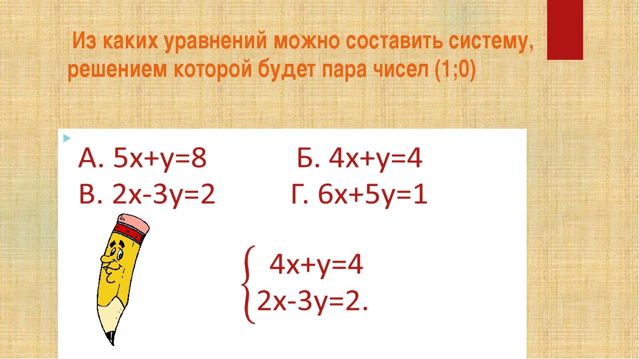 Из каких уравнений можно составить систему, решением которой будет пара чисе...