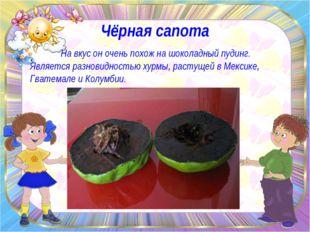 Чёрная сапота На вкус он очень похож на шоколадный пудинг. Является разновидн