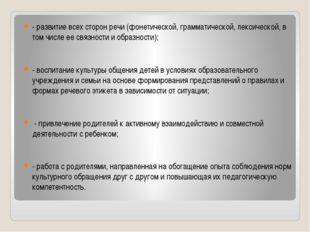 - развитие всех сторон речи (фонетической, грамматической, лексической, в том