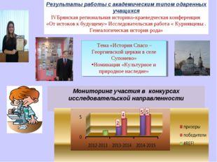 Результаты работы с академическим типом одаренных учащихся IVБрянская региона