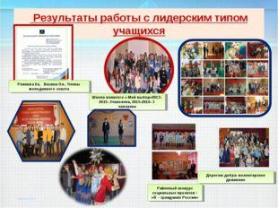 Результаты работы с лидерским типом учащихся Рожкова Ек, Васина Ол.. Члены м