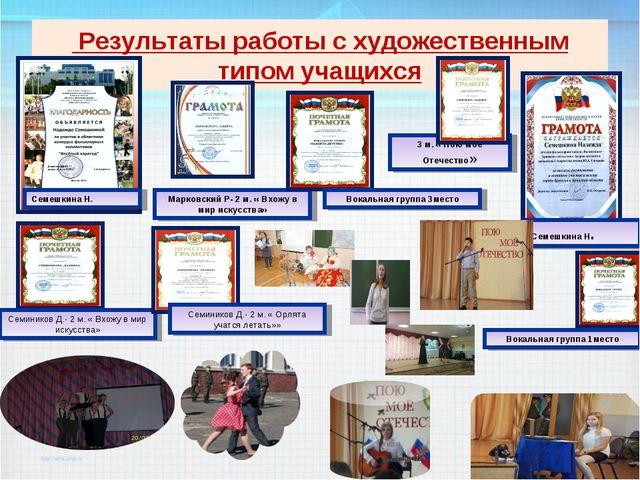 Результаты работы с художественным типом учащихся Семешкина Н. Семешкина Н....