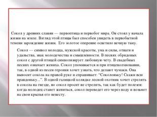 Сокол у древних славян — первоптица и первобог мира. Он стоял у начала жизни