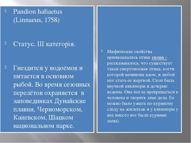 Pandion haliaetus (Linnaeus, 1758) Статус. III категорія. Гнездится у водоёмо...