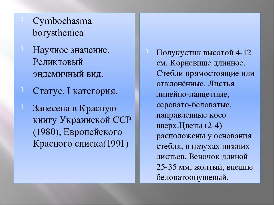 Cymbochasma borysthenica Научное значение. Реликтовый эндемичный вид.  Стату...