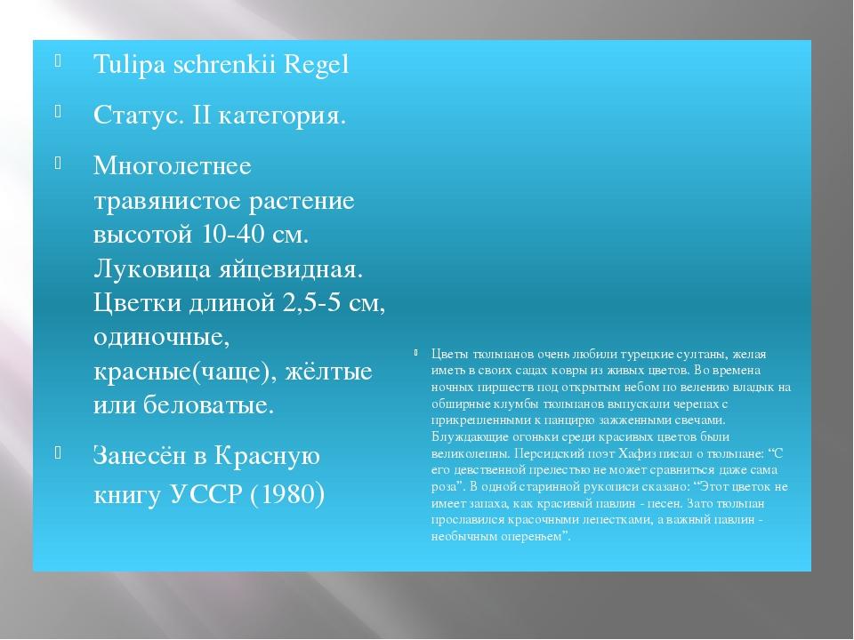 Tulipa schrenkii Regel Статус. II категория. Многолетнее травянистое растение...
