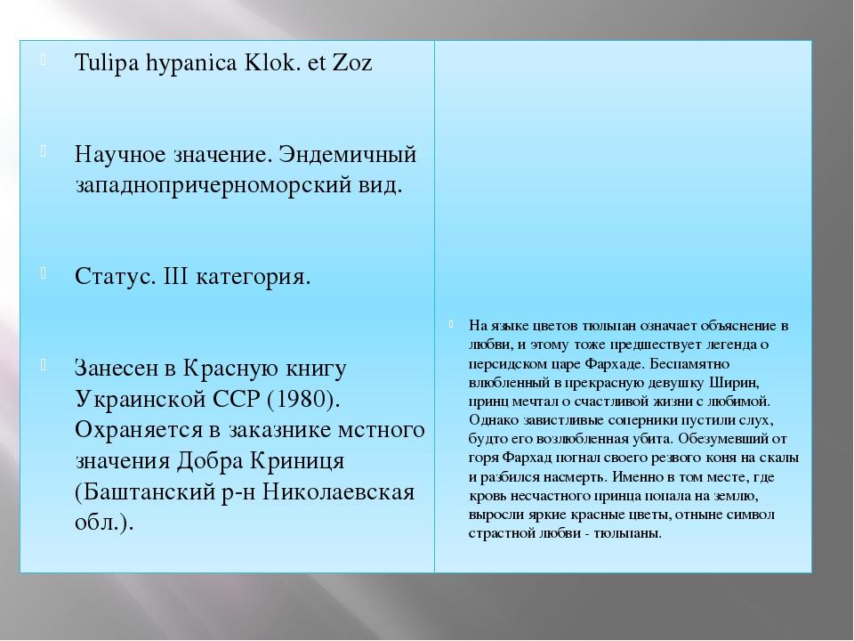 Tulipa hypanica Klok. et Zoz Научное значение. Эндемичный западнопричерноморс...
