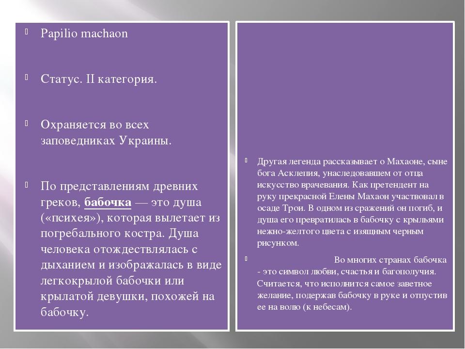 Papilio machaon Статус. II категория. Охраняется во всех заповедниках Украины...