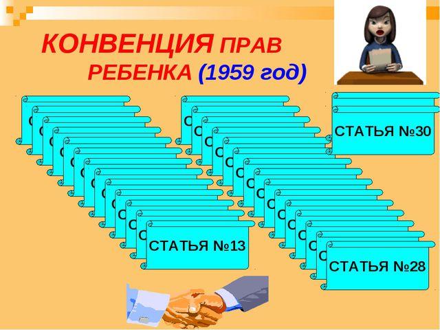 КОНВЕНЦИЯ ПРАВ РЕБЕНКА (1959 год) СТАТЬЯ №1 СТАТЬЯ №2 СТАТЬЯ №3 СТАТЬЯ №4 СТ...