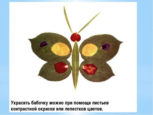 Украсить бабочку можно при помощи листьев контрастной окраски или лепестков ц...