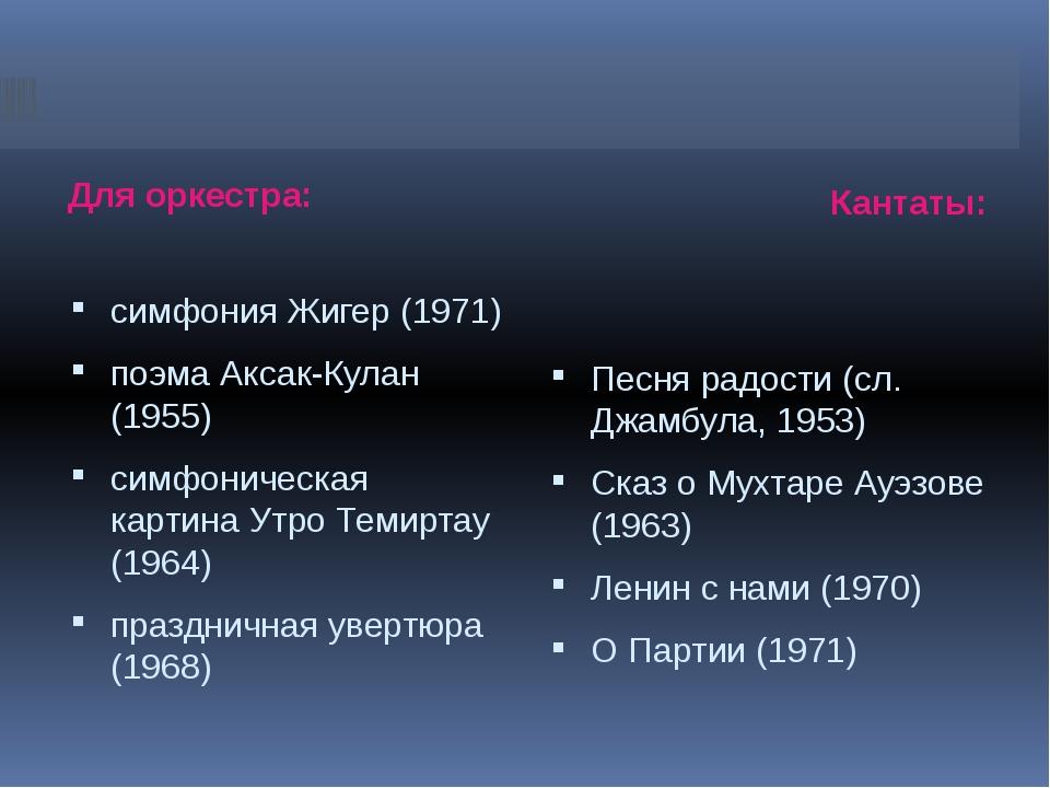Для оркестра: Кантаты: симфония Жигер (1971) поэма Аксак-Кулан (1955) симфон...