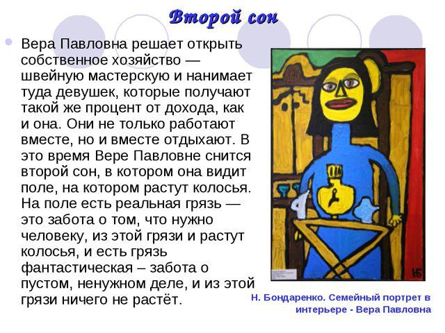 Второй сон Вера Павловна решает открыть собственное хозяйство — швейную масте...