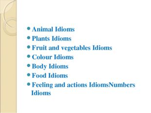 Animal Idioms Plants Idioms Fruit and vegetables Idioms Colour Idioms Body Id