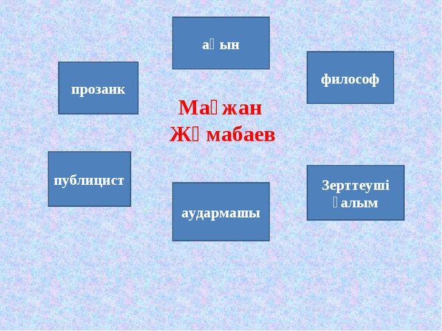 Мағжан Жұмабаев прозаик публицист ақын аудармашы философ Зерттеуші ғалым