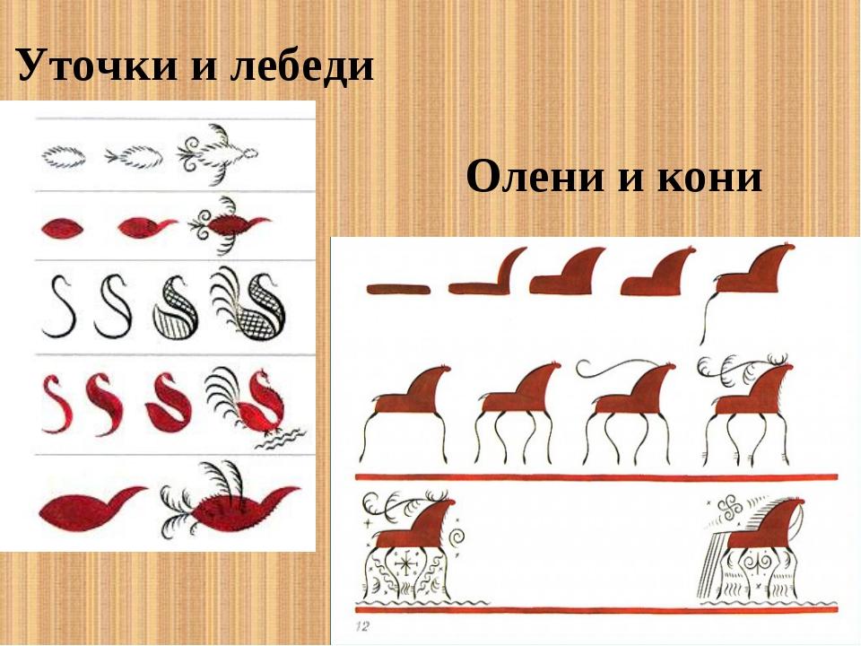 Уточки и лебеди Олени и кони