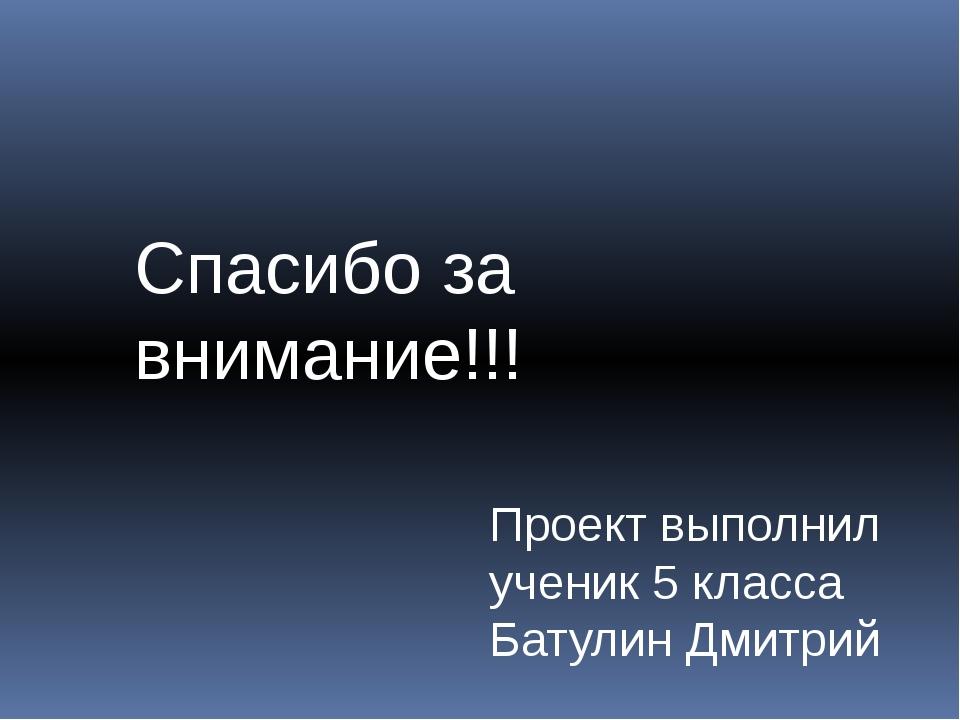 Спасибо за внимание!!! Проект выполнил ученик 5 класса Батулин Дмитрий