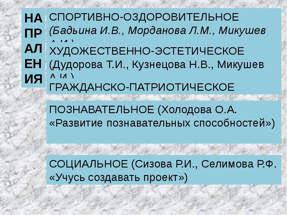 НАПРАЛЕНИЯ СПОРТИВНО-ОЗДОРОВИТЕЛЬНОЕ (Бадьина И.В., Морданова Л.М., Микушев А...