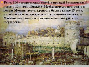 Более 100 лет прослужил верой и правдой белокаменный кремль Дмитрия Донского.