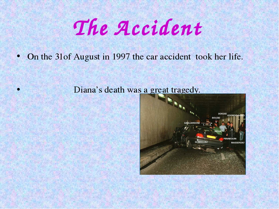 The Accident On the 31of August in 1997 the car accident took her life. Diana...