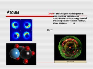 Атомы Атом— это электрически нейтральная микрочастица, состоящая из положител