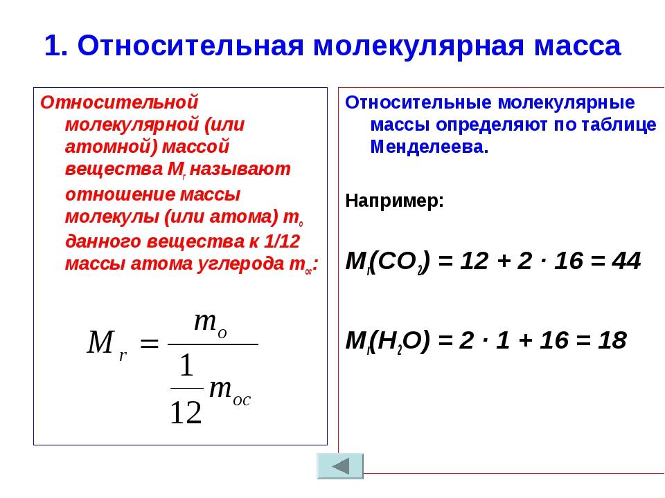 1. Относительная молекулярная масса Относительной молекулярной (или атомной)...