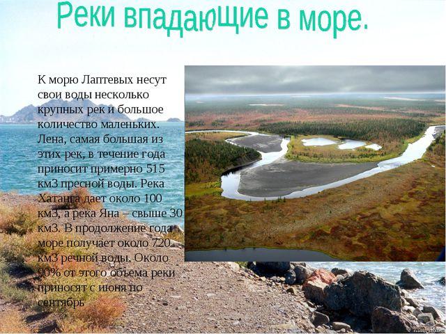 К морю Лаптевых несут свои воды несколько крупных рек и большое количество ма...