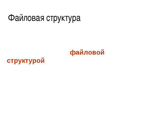 Файловая структура Способ организации папок и файлов на диске называется файл...