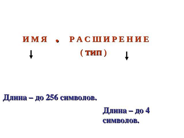Имя файла состоит из двух частей, разделённых точкой: И М Я . Р А С Ш И Р Е Н...