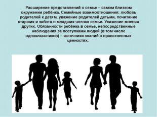 Расширение представлений о семье – самом близком окружении ребёнка. Семейные