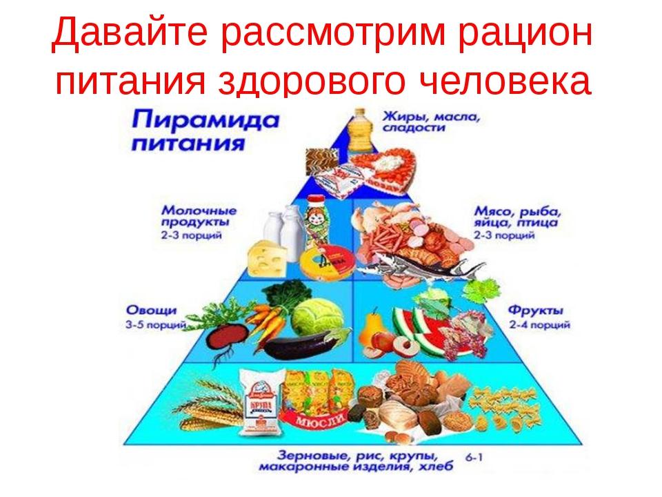 Давайте рассмотрим рацион питания здорового человека