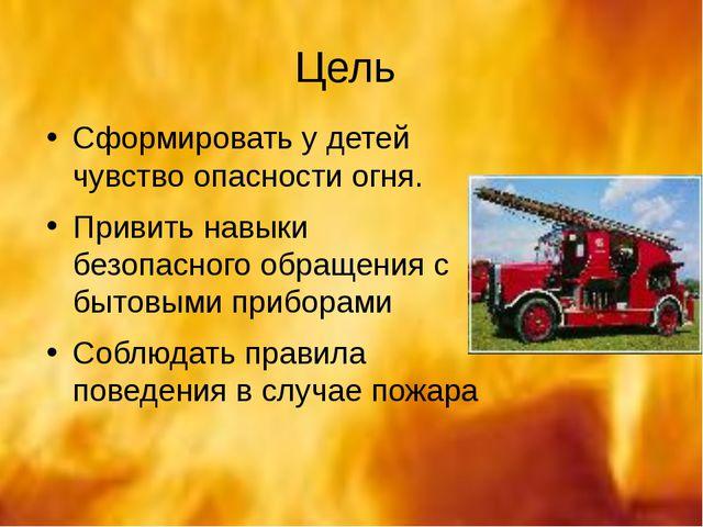 Цель Сформировать у детей чувство опасности огня. Привить навыки безопасного...