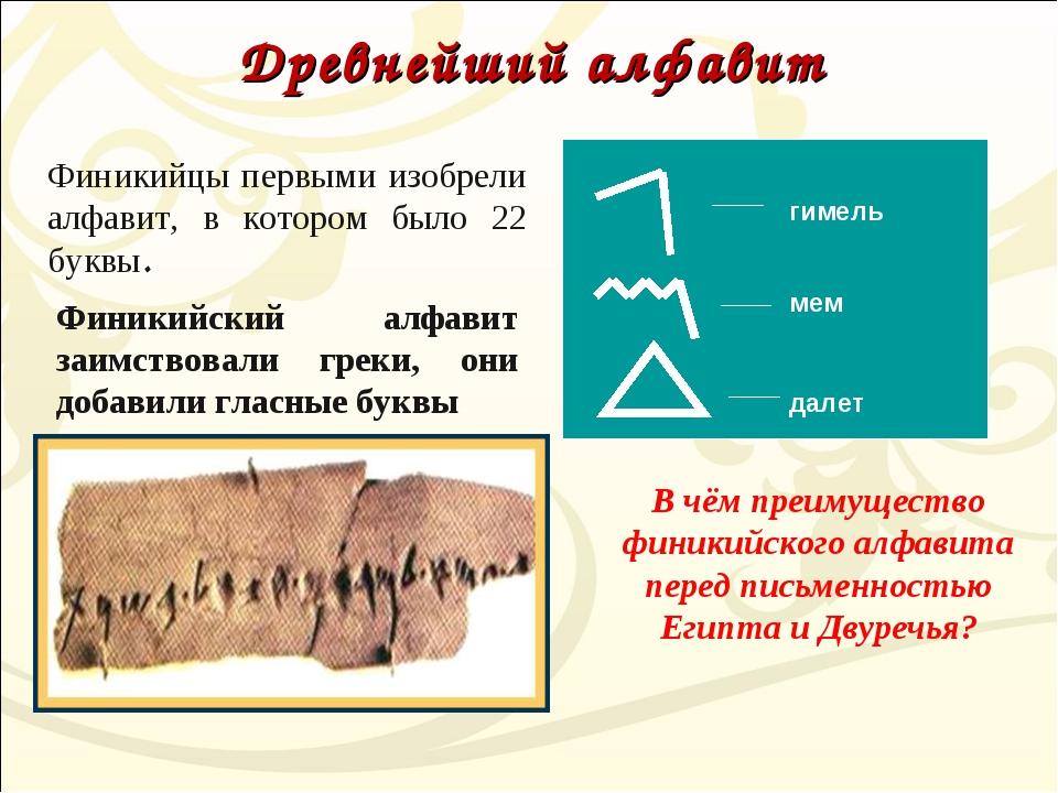 Древнейший алфавит гимель мем далет Финикийцы первыми изобрели алфавит, в кот...