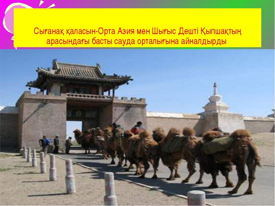 Сығанақ қаласын-Орта Азия мен Шығыс Дешті Қыпшақтың арасындағы басты сауда ор...