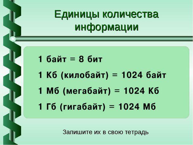 Единицы количества информации Запишите их в свою тетрадь