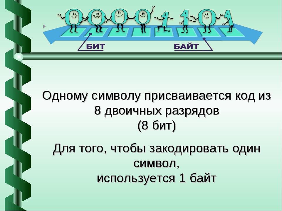 Одному символу присваивается код из 8 двоичных разрядов (8 бит) Для того, что...