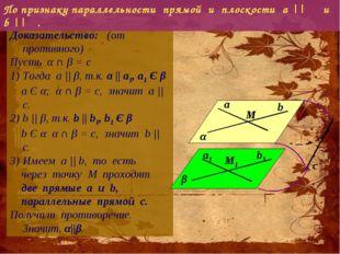 Доказательство: (от противного) Пусть α ∩ β = с Тогда а || β, т.к. a || a1,