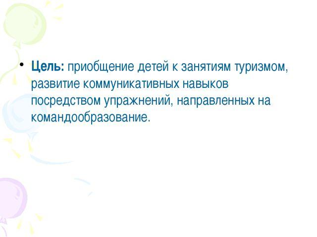 Цель: приобщение детей к занятиям туризмом, развитие коммуникативных навыков...