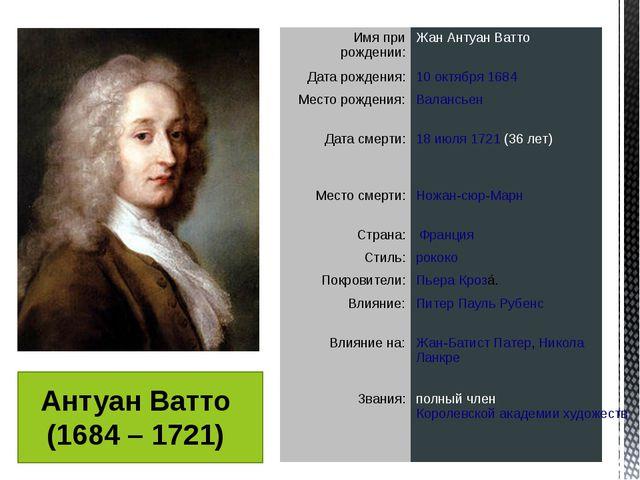 Антуан Ватто (1684 – 1721) Имя при рождении: Жан Антуан Ватто Дата рождения:...