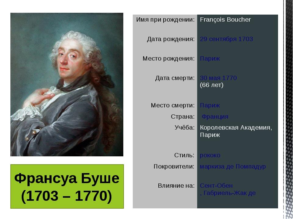 Франсуа Буше (1703 – 1770) Имя при рождении: François Boucher Дата рождения:...